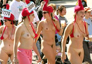 Women breakers bay to running naked