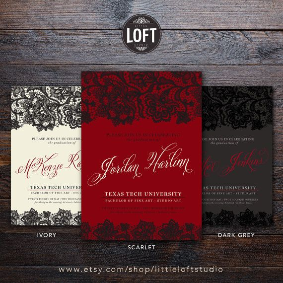 8 best graduation images on pinterest grad parties graduation and red and black white lace script college graduation announcement texas tech university graduation announcement invitation inspired digital or printed filmwisefo