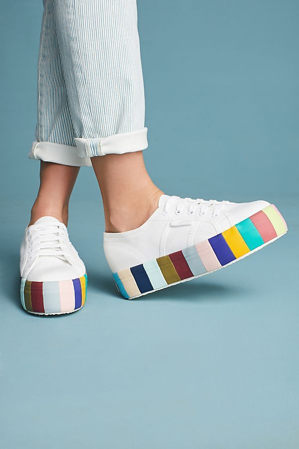 430a86d0cb30 Superga Striped Platform Sneakers in 2019