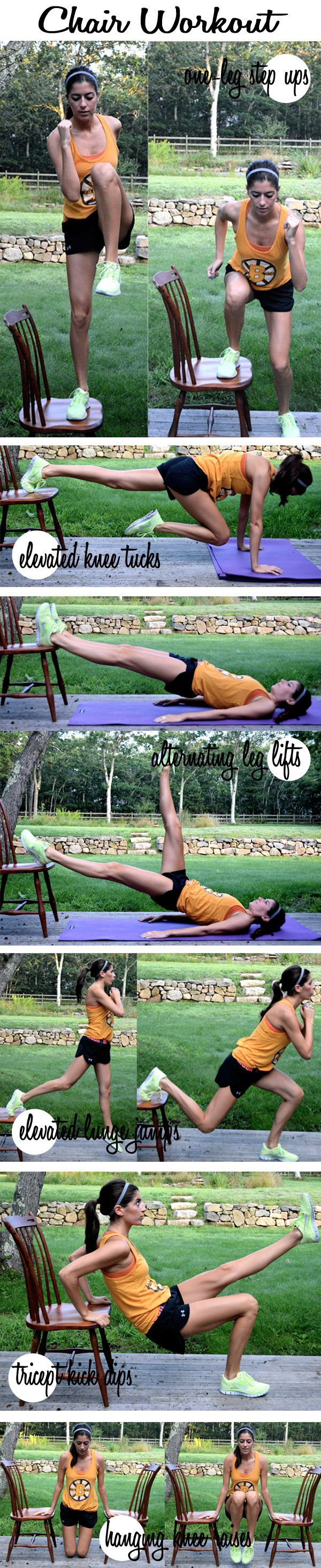 CHAIR WORKOUT   These 27 Workout Diagrams Are All You Need To Get In Shape This Summer