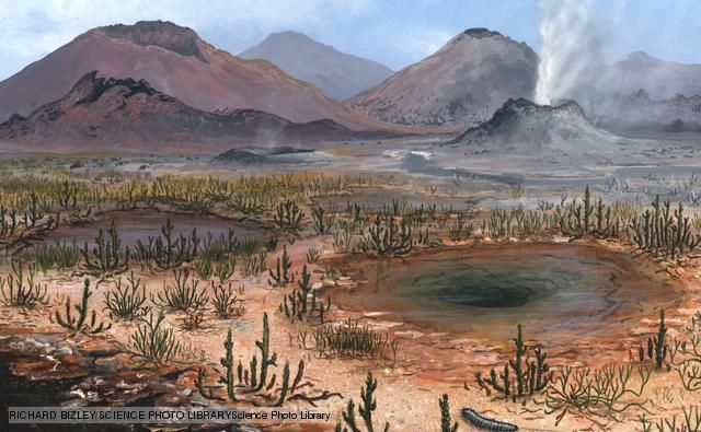 Wetland plants and fumaroles during the Late Devonian period