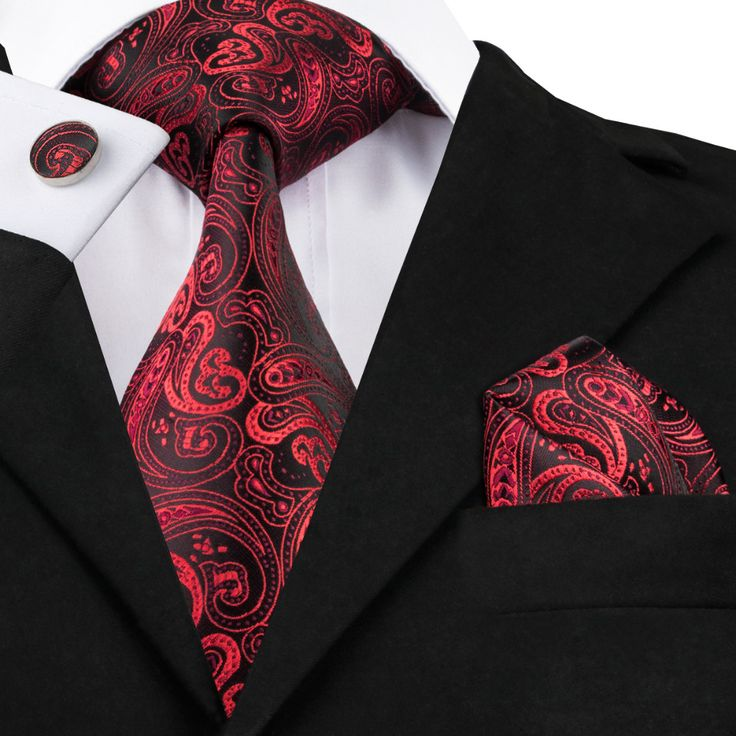 Hi-Tie red black Paisley Silk Necktie Ties For Men Formal #shoes, #jewelry, #women, #men, #hats, #watches, #belts