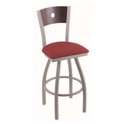 Holland Bar Stool Voltaire 30 in. Swivel Bar Stool with Fabric Seat Medium Oak Allante Wine - 83030SSMEDOAKBALWINE