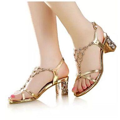 b305af4304 Feminino Sapatos Couro Ecológico Verão Chanel Sandálias Para Casual Dourado
