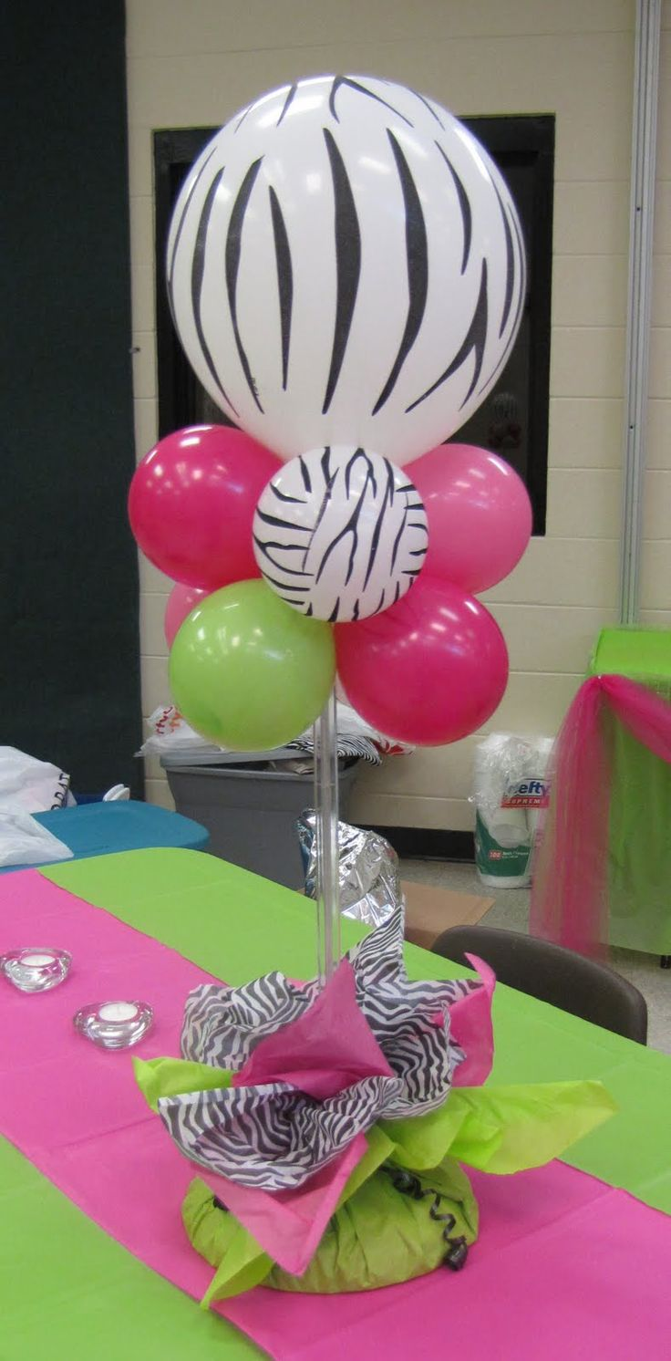 Party People Celebration Company - Special Event Decor Custom Balloon decor and Fabric Designs: Zebra, Hot Pink and Lime Sweet 16 Fort Meade Community Center