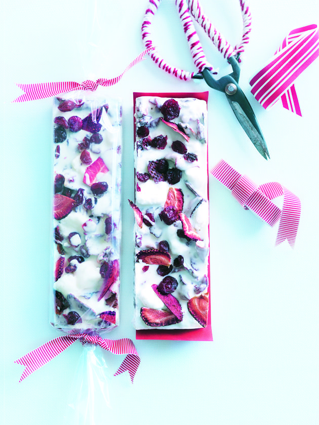 white chocolate and strawberry rocky road