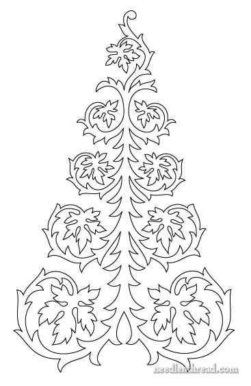Free hand embroidery pattern (or quilting pattern) - a continuous line drawing of a tree, with leaves. Works for fall or Christmas!