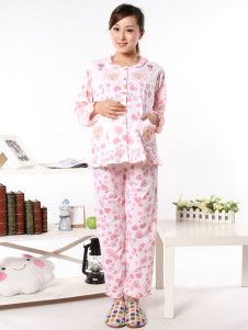 Red Printing Long Sleeves Cotton Maternity Sleepwear