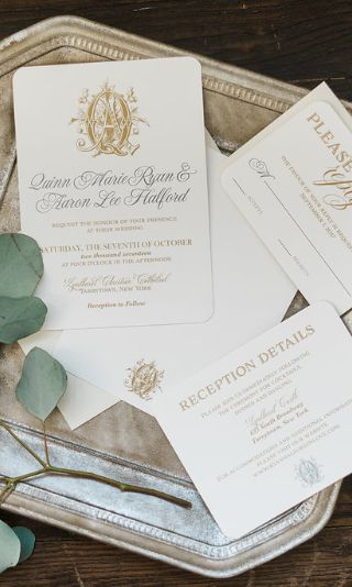 Ivory and gold monogram wedding invitations for a timeless and traditional bride | Meg Morrow Fine Paper