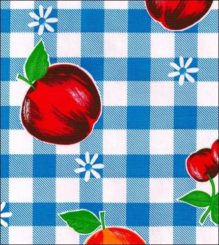 """""""Gingham and Fruit"""" in Blue - Blauwe ruit rode appels"""
