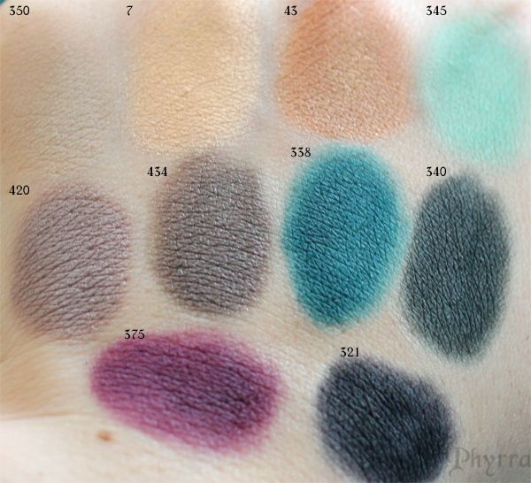 Inglot Swatches Matte 350 345 338 340 375 321, Pearl 420 434, AMC Shine 43, 7 / Phyrra