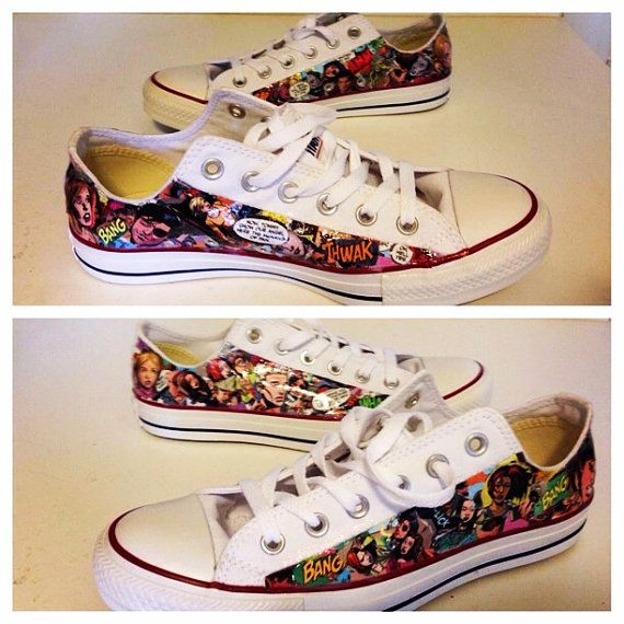 Comic Book Converse Sneakers by BuffybabeDesigns on Etsy, $130.00