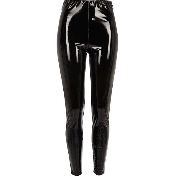 River Island Black vinyl high waisted skinny pants ($72) ❤ liked on Polyvore featuring pants, black, skinny trousers, women, high waisted skinny trousers, river island, super skinny pants and tall pants