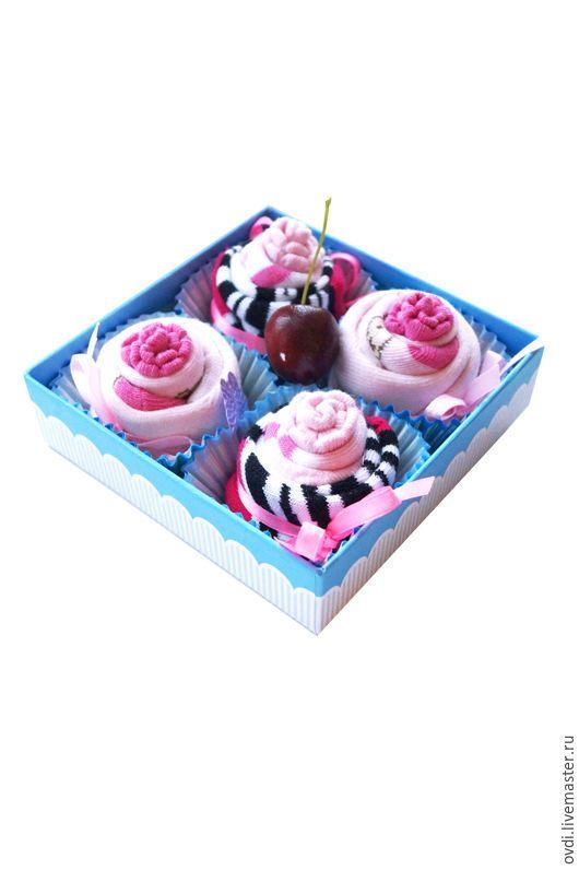 """Купить Набор из детских носков """"Пирожные"""" для девочки - носочки, букет из носков, капкейки, подарок девочке"""