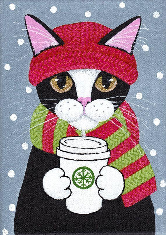 Winter Coffee Cat - Original Folk Art Painting                                                                                                                                                                                 More