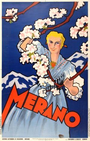Merano Italy, 1935 - original vintage poster listed on AntikBar.co.uk