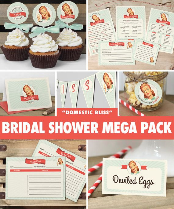 50s Housewife Bridal Shower Mega Pack // INSTANT DOWNLOAD // Retro Bridal Shower Games & Decorations // Mint // Printable DIY ws01
