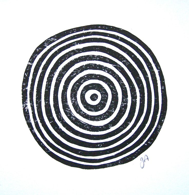 LINOCUT PRINT - geometric circles - black block print 8x10 tree ring bullseye by thebigharumph on Etsy https://www.etsy.com/listing/218112551/linocut-print-geometric-circles-black