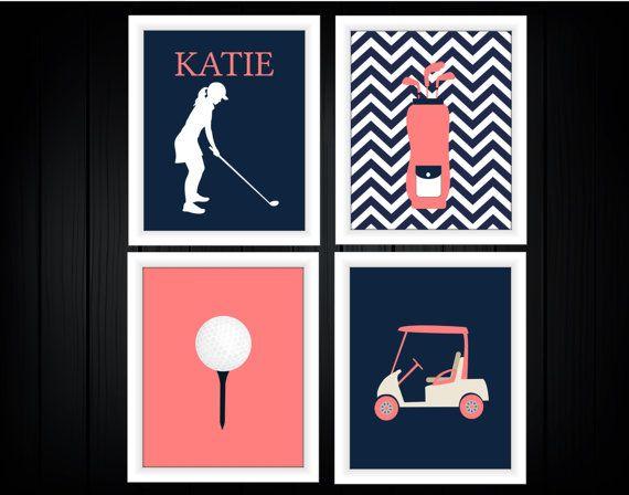 Golf Themed Decor  Girl  Custom Colors by TheEducatedOwl on Etsy