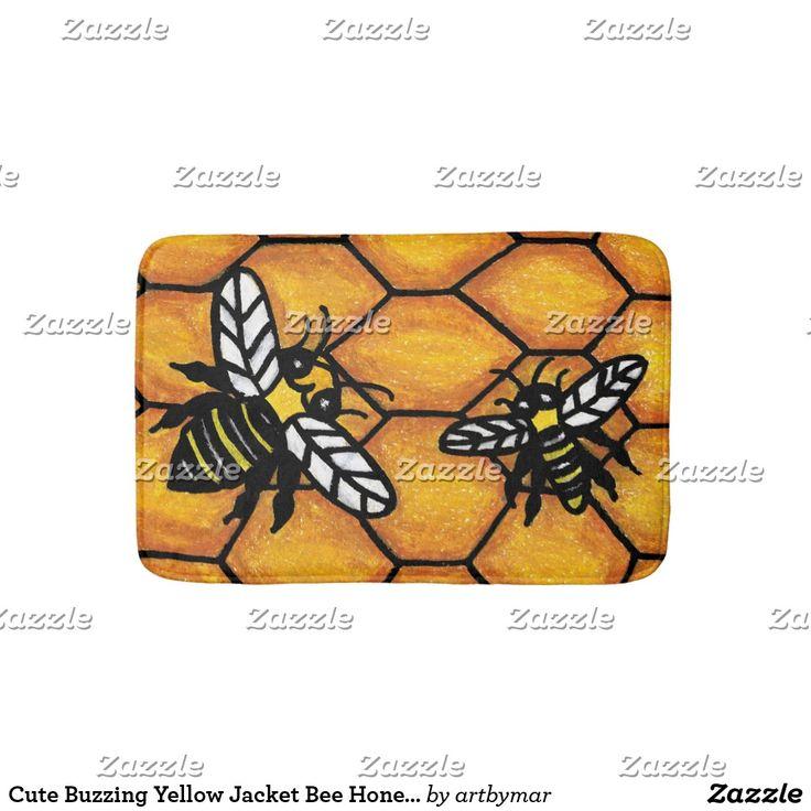 Cute Buzzing Yellow Jacket Bee Honeycomb Bathroom Mat