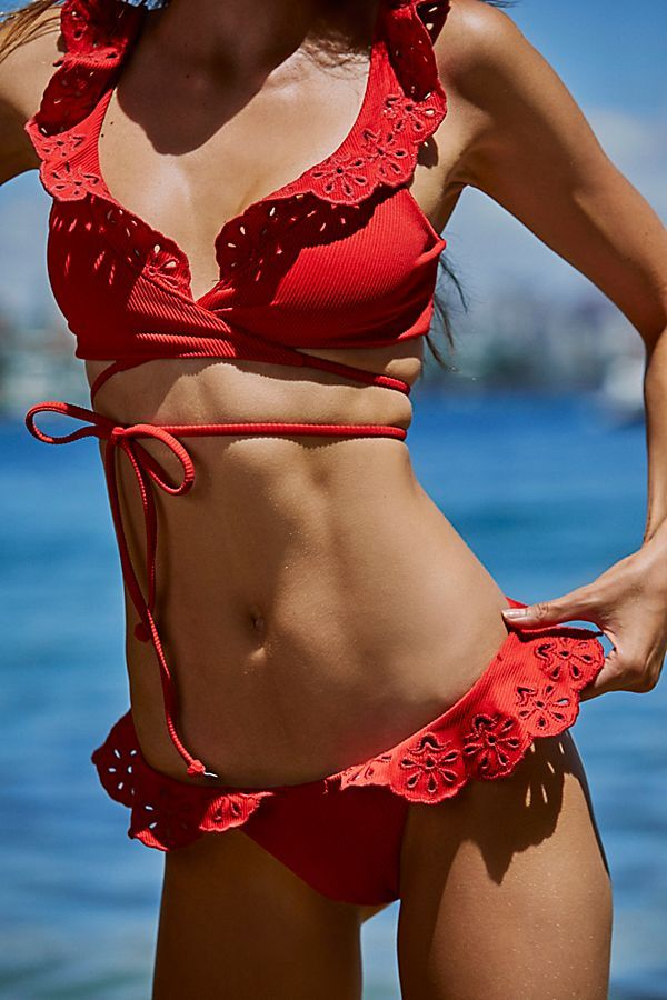 0bfd56af88646 Ruffle Chloe Bikini Bottom - Red Eyelet Ruffled Bikini Bottoms - Red Eyelet  Bikini Bottoms - Red Swimsuit Bottoms - Red Ruffled Bikini - Free People  Swim