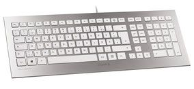 Cherry Strait Corded Keyboard (argent/blanc).  Le clavier Cherry Strait Corded Keyboard est un modèle haut de gamme qui offre le confort et le plaisir d'une conception ultra-plate et d'un design absolument superbe. Surface métallisée, design ultra-plat, finitions exceptionnelles... Dotez votre bureau d'un véritable bijou d'informatique moderne !