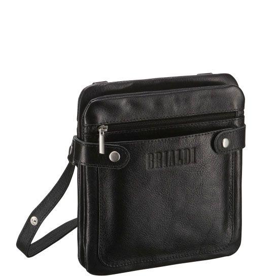 """Кожаная сумка через плечо BRIALDI Newport (Ньюпорт) black     Интересная и удобная сумка - """"сэндвич"""" планшетной формы. Между двумя отделениями - """"слоями"""" расположена вместительная открытая секция, идеальная для размещения документов и мелочей. У модели два наружных кармана: на лицевой стороне открытый, на обратной стороне на молнии. На обратной стороне карман в раскрытом состоянии представляет удобную замену бумажнику, обратите внимание на фото. Вход в первое и второе отделения радует…"""