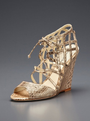 Alexandre Birman Lace-Up Python Wedge Sandal