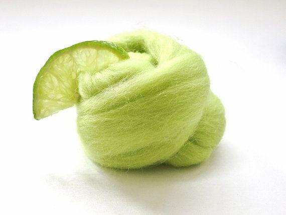 Chartreuse Merino Wool Roving wet felting wool by FeltEvolution, $5.50