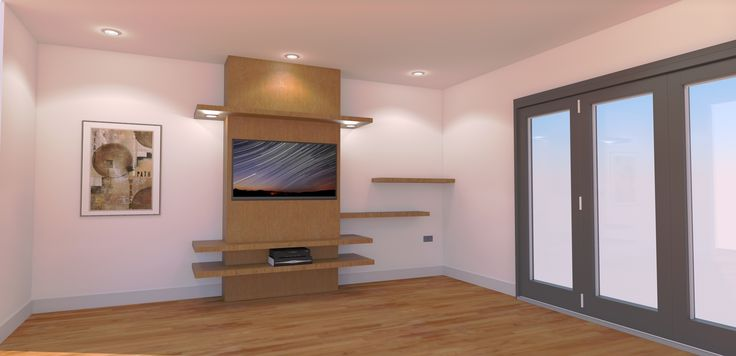 "50"" TV unit design concept for new build in Epsom - SketchUp rendered using Twighlight render"