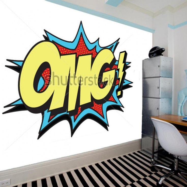 Fotobehang Graffiti OMG | Maak het jezelf eenvoudig en bestel fotobehang voorzien van een lijmlaag bij YouPri om zo gemakkelijk jouw woonruimte een nieuwe stijl te geven. Voor het behangen heb je alleen water nodig!   #behang #fotobehang #print #opdruk #afbeelding #diy #behangen #graffiti #omg #engels #woord #kunst #art