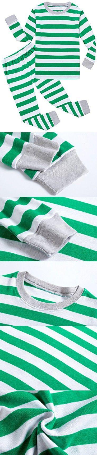 Family Feeling Striped Little Boys Girls Christmas Pajamas Set 100% Cotton Pjs Green Size 6-12Months