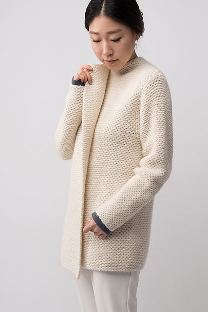 Shibui Knits FW15   Emboss by Shellie Anderson, knit with 2 strands of Shibui Maai held together throughout.