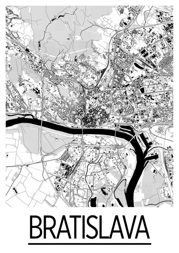 Bratislava Map Poster slovenia Map Print Art Deco by iLikeMaps