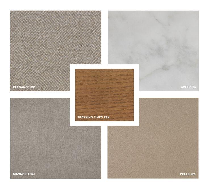 Wood: Ashwood stained Teak Marble: Carrara Leather: Pelle 625 Fabric: Elegance 950 Velvet: Magnolia 141