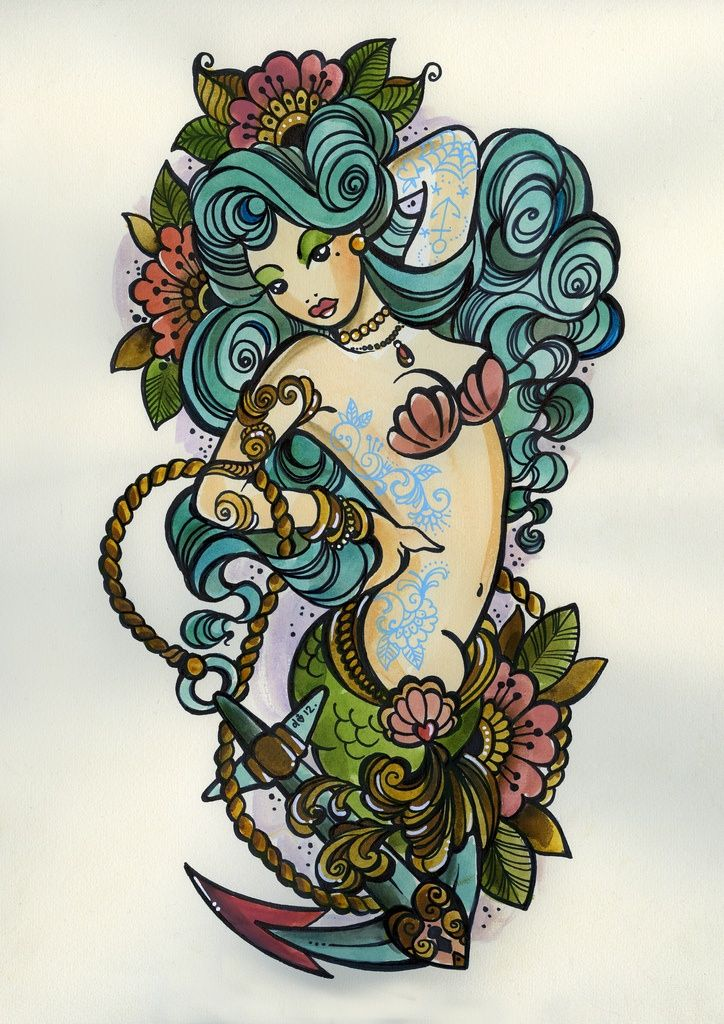 Mermaid tattoo design! Something like this possibly but wrapping across the left side of my back a little and covering my current 'slag tag' with her fish tale. @Beth J nelson
