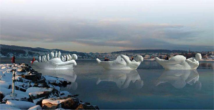 Montage. Lifeboat models 1:5 Larvik Fjord