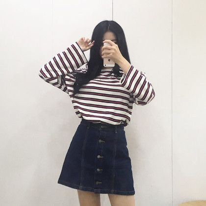 99bunnyMulti-Striped Long-Sleeved T-Shirt | MIX X MIX | Shop Korean fashion casual style clothing, bag, shoes, acc and jewelry for all
