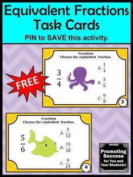 FREE Equivalent Fractions Task Cards 4th 5th Grade Math Center Games