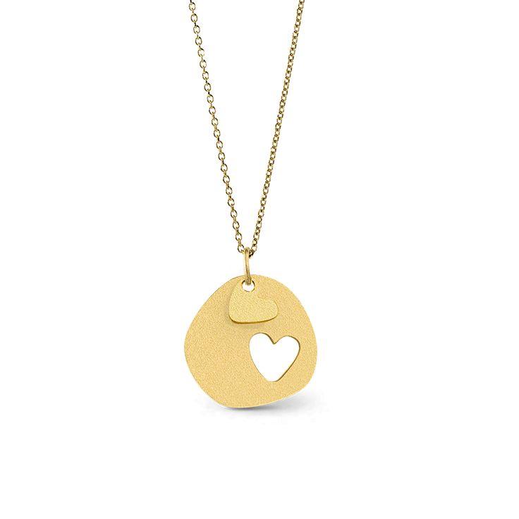 Love Double Heart Golden Necklace