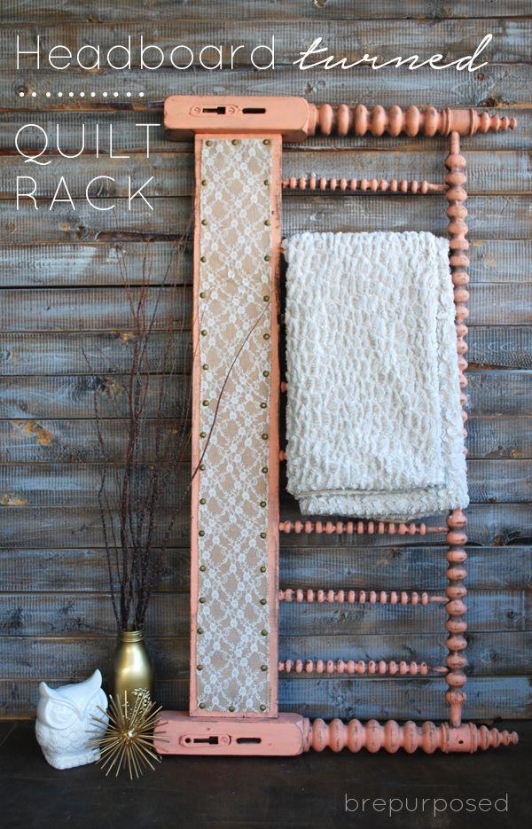 Headboard Turned Quilt Rack - brepurposed