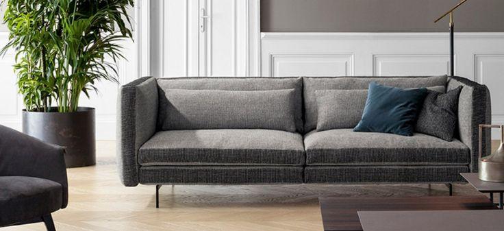 COLORS BONALDO.  Su tutto il perimetro dei cuscini della seduta, della scocca e dei braccioli scorre una fascia di tessuto che può essere scelto a contrasto per colore o disegno, dando la possibilità di personalizzare il divano e creare armonie o effetti cromatici.