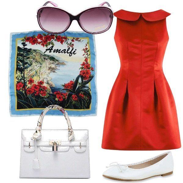 Un vestito rosso vivace con colletto peter pan viene proposto con un paio di ballerine bianche e una borsa bauletto, sempre bianca. Il foulard è griffato e ha una splendida stampa di un paesaggio della costiera amalfitana. e può essere indossato o annodato alla borsa. Gli occhiali da sole sono oversize e con delle lenti nei toni del viola.