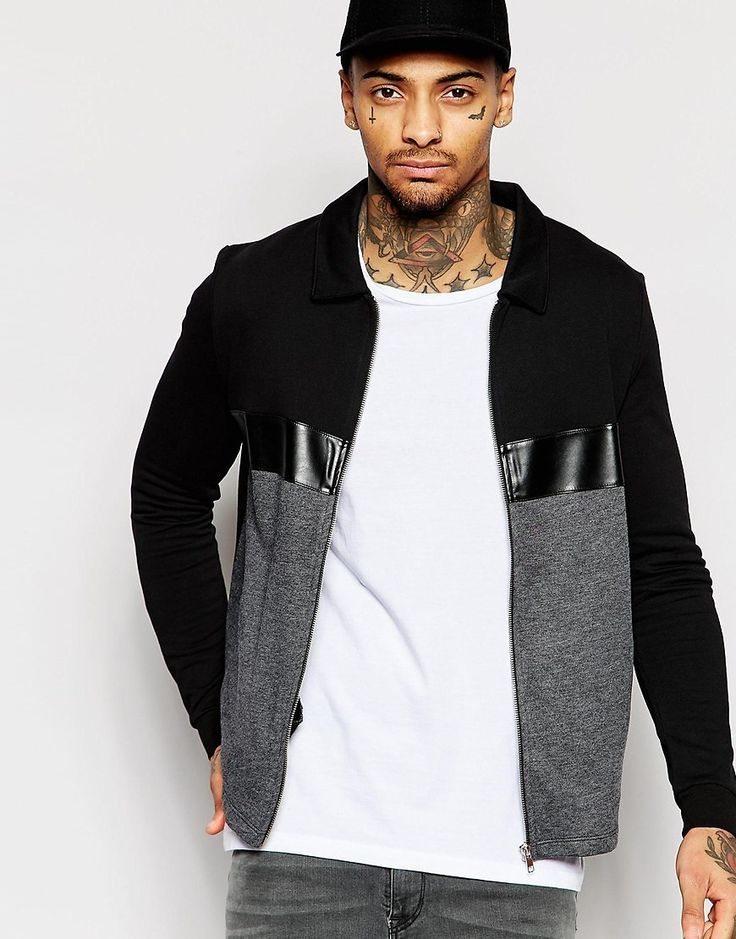 ASOS Jersey Harrington Jacket With Cut & Sew Faux Leather Stripe