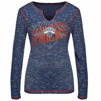 Women's New York Knicks Majestic Royal Blue Game Time Gal T-Shirt