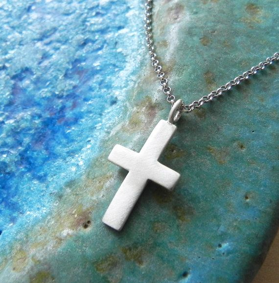 Sterling silver cross necklace men jewelry gift by Fingerprince, $27.00