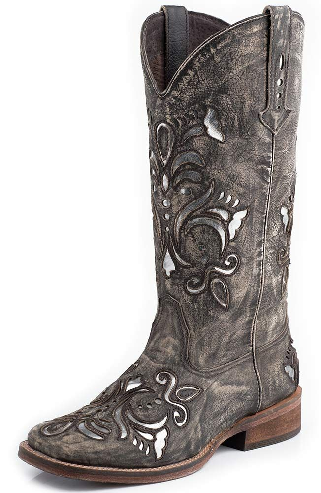 Roper Womens Silver Underlay Square Toe Cowboy Boots - Brown Sanded $149.99