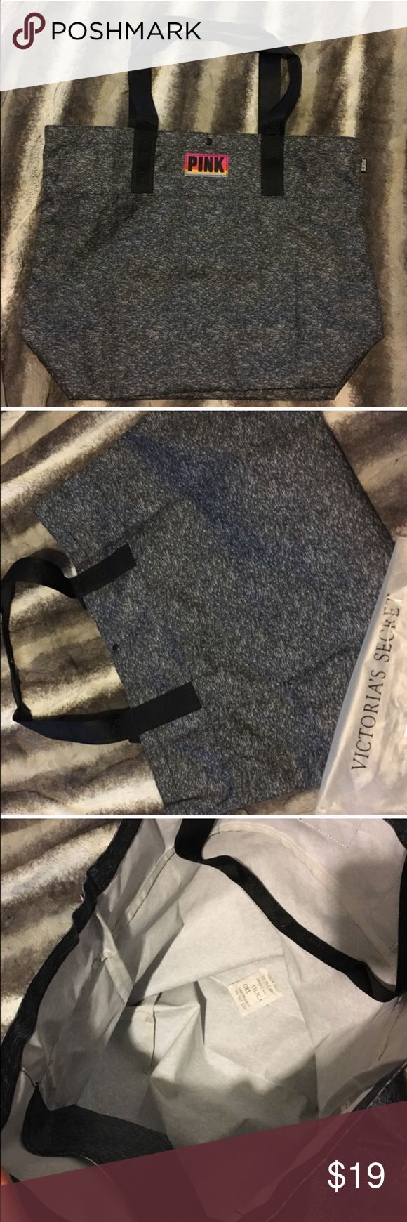 [Pink Victoria's Secret] Tote Bag NWOT bought it online. Color dark grey. Perfect for the beach or gym. Price firm. Measurements 21+16+8 PINK Victoria's Secret Bags Totes