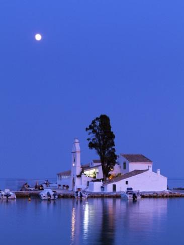 VISIT GREECE  Vlacherna Monastery under the moonlight #Corfu #Greece