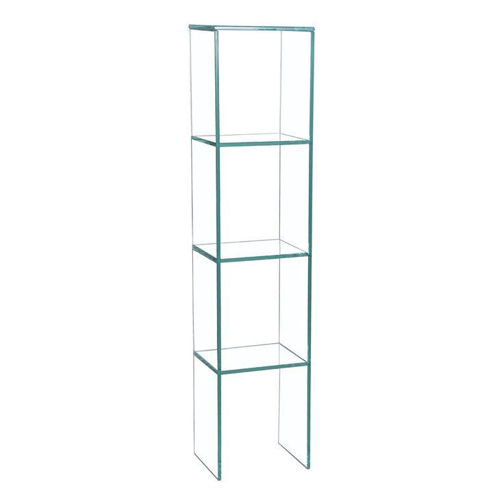 Design-Regal mit einer rechteckigen Struktur. Es ist über 3 Regalwände unterteilt und bildet dabei 4 Räume in verschiedenen Höhen. Dank ihrer 112 cm Höhe, lässt sich die oberste Oberfläche als Stellfläche für Deko-Objekte genutzt werden. Es ist aus Sicherheitsglas hergestellt. Die äußere Wand ist 1 cm dick und die Regalwände haben eine Dicke von 0,6 cm.  Das Ergebnis: Ein Stück von großer visueller Leichtigkeit, das jedem Raum einen Touch Eleganz verleiht.